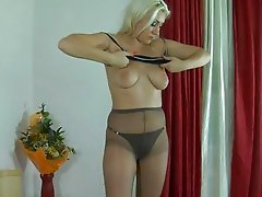 Blonde girl in a black thong