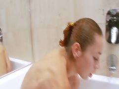 Natashas golden shower in the jacuzzi