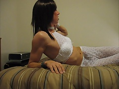 Jacking Off In White Lingerie