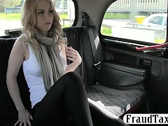 Massive boobs blonde Canadian drilled for a free fare