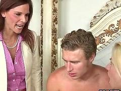 Perv cougar and her step son in a 3way