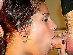 A pretty brunette pleases her boyfriend with a hot blowjob