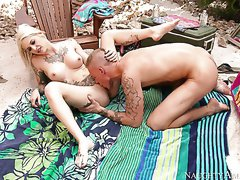 Horny blond beauty Kleio Valentien enjoys foreplay with Richie Black