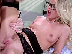 Dazzling blonde doctor with glasses swallows cum off patient's cock