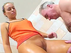 Old Man Licks and Fucks A Gorgeous Blonde's Teen Pussy In The Shower