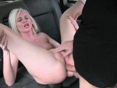 Hot blond passenger ass fucked real hard by fake driver