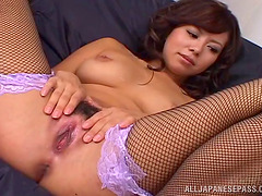 Fishnets are sexy on girls getting fucked in a group scene