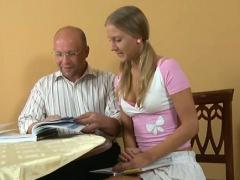 Elderly teacher pleasured by legal age teenager