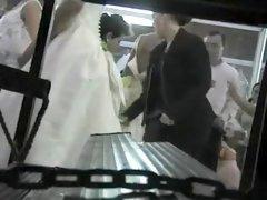 Peeping on the bride getting dressed