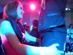 Stunning ladies have a blast shagging men in a club