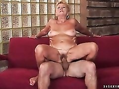 Mature vagina filled with big fat cock