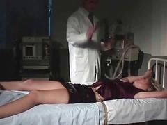 Beautiful blonde gets bondaged and punished by doc