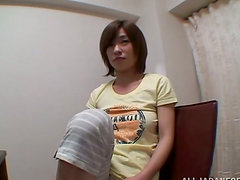 Naughty Kaho Kasumi blows a dick and gets facialed
