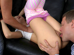 Slender blonde teen gets dp in a spicy mmf threesome