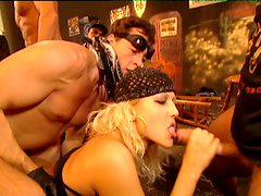 Vanessa gives blowjob before getting DP screwed in gangbang in the bar