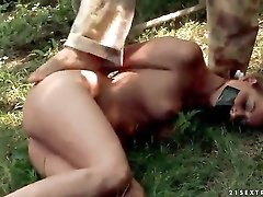 Bound sub slut sucks a hard dick poolside