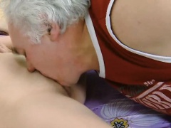 Lovely young babe rides wang of an old guy and then licks it