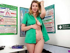Torrid nurse Hannah Z is ready to work on her pussy in the hospital