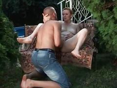 Hairy granny enjoys nasty sex outdoor