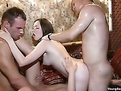 Sweaty foursome fucking with beautiful young ladies
