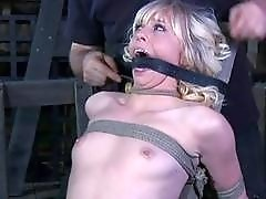 Hypnotic blonde gets bonded and tinkled before having rough sex