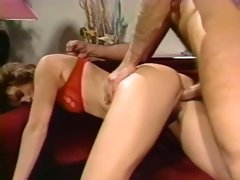Filthy tall white chick in red lingerie fed with dick and boned on the couch
