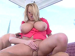 Dude nails a blonde & a redhead with sweet natural tits
