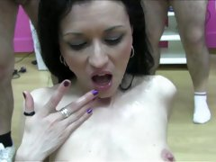 Raven haired cum MILF gets her mouth gangbanged rough