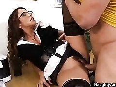 Teacher fucked in hairy pussy