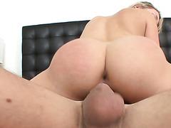 Lying on her belly pretty blondie Mia Malkova sucks her BF's dick