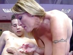 Thick mommy takes a lucky boys cock inside her snatch