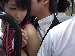 Slutty Asian girl gets gangbanged in the bus by perverts