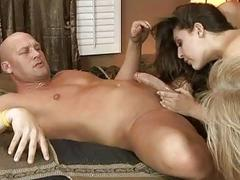 Horny hunk gets his cannon sucked and fucked by two hot chicks