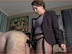 mistress bangs her fat hairy slave with a strapon