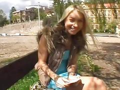 Hot ebon darling gives fantastic blowjob outdoors