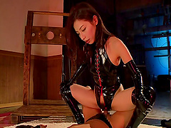 She loves riding multiple Asian males and cum on her latex and face