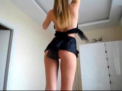Public toying and dildo masturbation of blonde