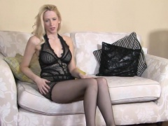British blond teases with dirty talk