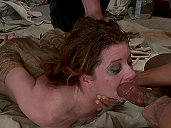 Multiple Cumshots after Double Penetration Fuck in Interracial Gangbang
