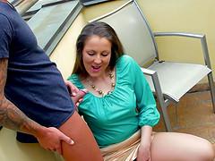 Stunning brunette Valentina Ross bends over for a stiff member