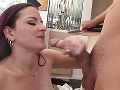 mature with pierced nipples blows a guys giant dick