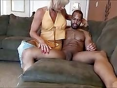 Mature blond shemale's ass is stretched by huge black dick