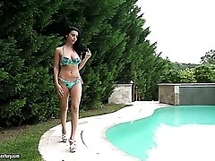 Zealous pool girl Nelly Kent has nothing against some hardcore anal