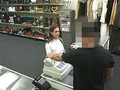 Sexy Latina stewardess pawns her pussy