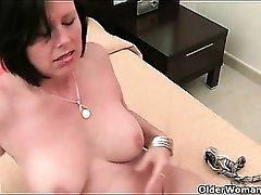 Beautiful mom with big boobs masturbates solo