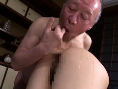 Japanese geisha goes to sauna with old man and pleasures him