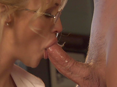 Blonde Milf with glasses gets her juicy snatch eaten out and nailed