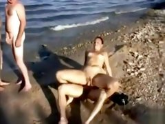 Foursome at the beach with all kinds of fucking