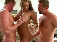 Sasha gets fucked in her mouth and pussy in a threesome
