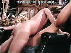 Hot tempered dude fucks two sweet and adorable lesbos in retro clip